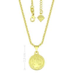 Gargantilha folheada a ouro com medalha de São Bento - Clique para maiores detalhes