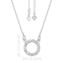 Gargantilha folheada a prata contendo adereço com pedras de zircônia - Clique para maiores detalhes