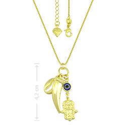 Gargantilha folheada a ouro com pingentes olho grego, dente de sabre,  Mão de Fátima e Buzios - Clique para maiores detalhes
