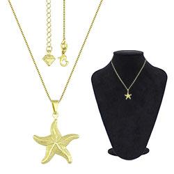 Gargantilha folheada a ouro com pingente estrela do mar - Clique para maiores detalhes