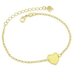 Pulseira folheada a ouro c/ adereço em forma de coração - Clique para maiores detalhes