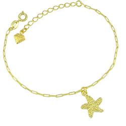 Pulseira folheada a ouro com pingente em forma de estrela do mar - Clique para maiores detalhes