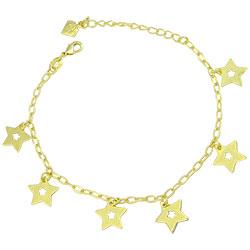 Pulseira folheada a ouro com pingentes em forma de estrela - Clique para maiores detalhes