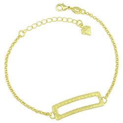 Pulseira folheada a ouro com adereço retangular - Clique para maiores detalhes