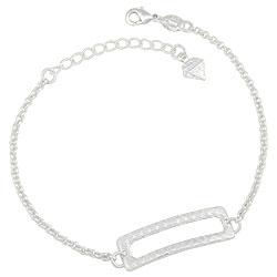 Pulseira folheada a prata com adereço retangular - Clique para maiores detalhes