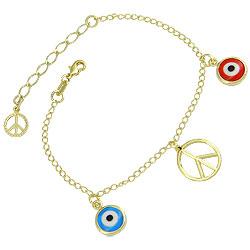 Pulseira folheada a ouro c/ pingente da Paz e pingentes de Olho Grego (cores sortidas) - Clique para maiores detalhes