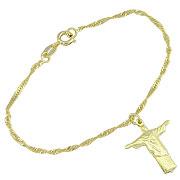 Pulseira folheada a ouro c/ pingente do Cristo Redentor - Clique para maiores detalhes
