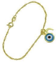 Pulseira da sorte folheada a ouro c/ olho grego e ferradura - Clique para maiores detalhes