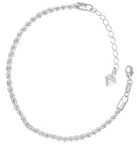 Pulseira folheada a prata feita c/ corrente de malha cordão baiano - Clique para maiores detalhes