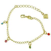 Pulseira infantil folheada a ouro c/ pedrinhas coloridas de strass - Clique para maiores detalhes
