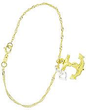 Pulseira folheada a ouro c/ pingente de âncora e coração c/ aplique de prata