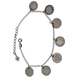 Pulseira Cigana em banho onix com moedas - Clique para maiores detalhes