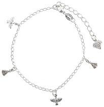 Pulseira folheada a prata c/ pingentes de N. Sra. Aparecida e Divino Espírito Santo - Clique para maiores detalhes