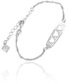 Pulseira folheada a prata c/ detalhes vazados em forma de três corações - Clique para maiores detalhes