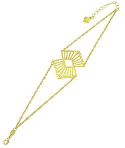 Pulseira folheada a ouro c/ corrente dupla e adereço de chapa - Clique para maiores detalhes