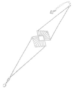 Pulseira folheada a prata c/ corrente dupla e adereço de chapa - Clique para maiores detalhes