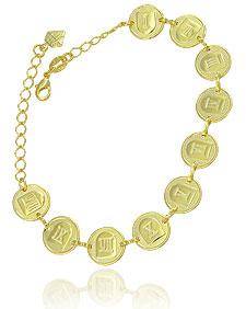 Pulseira 10 mandamentos folheada a ouro - Clique para maiores detalhes