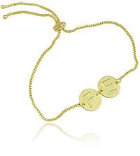 Pulseira ajustável folheada a ouro c/ fecho gravata e medalhas escrito FÉ - Clique para maiores detalhes