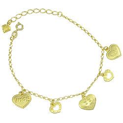 Pulseira folheada a ouro c/ corações escritos Vida, Fé e Amor - Clique para maiores detalhes