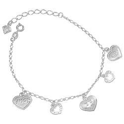 Pulseira folheada a prata c/ corações escritos Vida, Fé e Amor - Clique para maiores detalhes