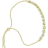 Pulseira folheada a ouro c/ pedras de strass e fecho gravata - Clique para maiores detalhes