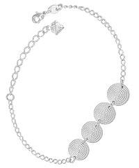 Pulseira folheada a prata c/ adereços redondos estampados - Clique para maiores detalhes
