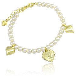 Pulseira de pérolas folheada a ouro c/ pingentes em forma de coração - Clique para maiores detalhes