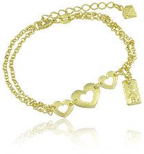 Pulseira dupla folheada a ouro c/ três corações e medalha c/ menininho - Clique para maiores detalhes