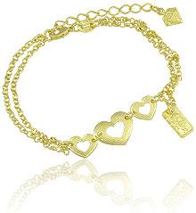 Pulseira dupla folheada a ouro c/ três corações e medalha c/ menininha - Clique para maiores detalhes