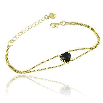 Pulseira folheada a ouro c/ correntes duplas e pedra acrílica em forma de coração