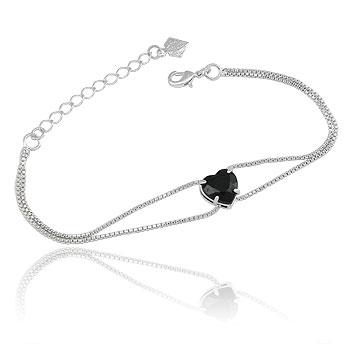 Pulseira folheada a prata c/ correntes duplas e pedra acrílica em forma de coração