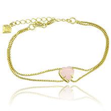 Pulseira folheada a ouro c/ correntes duplas e pedra acrílica em forma de coração - Clique para maiores detalhes