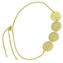 Pulseira folheada a ouro c/ medalhas formando a palavra AMOR - Clique para maiores detalhes