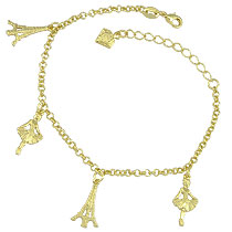 Pulseira folheada a ouro c/ pingentes em forma de bailarina e Torre Eiffel - Clique para maiores detalhes