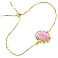 Pulseira folheada a ouro c/ pedra acrílica rodeada por strass e fecho gravata - Clique para maiores detalhes