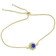 Pulseira folheada a ouro c/ pedra azul safira rodeada por strass e fecho gravata - Clique para maiores detalhes