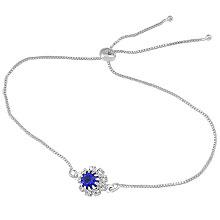 Pulseira folheada a prata c/ pedra azul safira rodeada por strass e fecho gravata - Clique para maiores detalhes