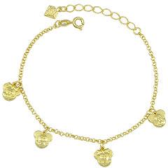 Pulseira Mickey e Minnie folheada a ouro - Clique para maiores detalhes