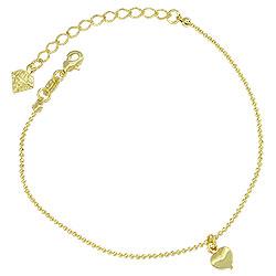 Pulseira folheada a ouro c/ pingente em forma de coração - Clique para maiores detalhes