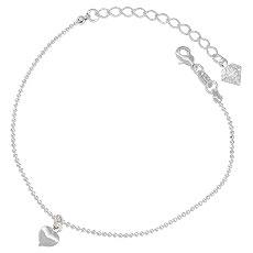 Pulseira folheada a prata c/ pingente em forma de coração - Clique para maiores detalhes