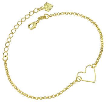 Pulseira folheada a ouro c/ adereço em forma de coração