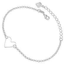 Pulseira folheada a prata c/ adereço em forma de coração - Clique para maiores detalhes