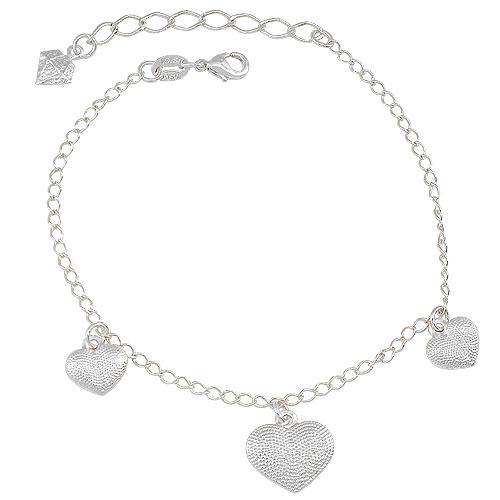 Pulseira folheada a prata c/ pingentes em forma de coração