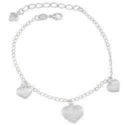 Pulseira folheada a prata c/ pingentes em forma de coração - Clique para maiores detalhes