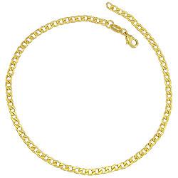 Pulseira masculina folheada a ouro c/ malha grumet diamantada - Clique para maiores detalhes