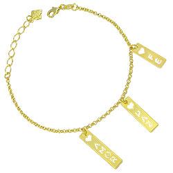 Pulseira folheada a ouro c/ plaquinhas escrito AMOR, PAZ e FÉ - Clique para maiores detalhes