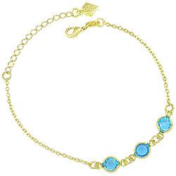 Pulseira Tiffany Inspired folheada a ouro c/ pedras azul claro - Clique para maiores detalhes