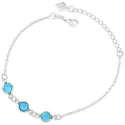 Pulseira Tiffany Inspired folheada a prata c/ pedras azul claro - Clique para maiores detalhes