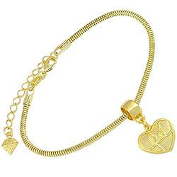 Pulseira folheada a ouro c/ pingente de coração escrito a palavra Fé - Clique para maiores detalhes