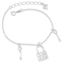 Pulseira folheada a prata c/ pingentes em forma de chave e cadeado - Clique para maiores detalhes